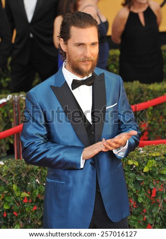 LOS ANGELES, CA - JANUARY 25, 2015: Matthew McConaughey at the 2015 Screen Actors Guild  Awards at the Shrine Auditorium.  - stock photo