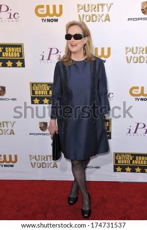 LOS ANGELES, CA - JANUARY 16, 2014: Meryl Streep at the 19th Annual Critics' Choice Awards at The Barker Hangar, Santa Monica Airport.  - stock photo