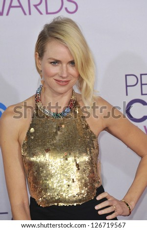 LOS ANGELES, CA - JANUARY 9, 2013: Naomi Watts at the People's Choice Awards 2013 at the Nokia Theatre L.A. Live. - stock photo
