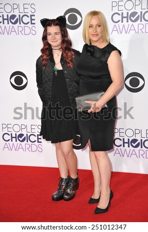 LOS ANGELES, CA - JANUARY 7, 2015: Patricia Arquette & daughter Harlow Olivia Calliope Jane at the 2015 People's Choice  Awards at the Nokia Theatre L.A. Live downtown Los Angeles.  - stock photo