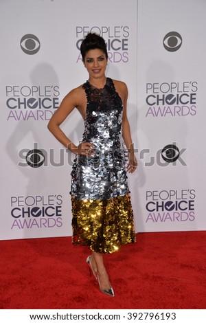 LOS ANGELES, CA - JANUARY 6, 2016: Priyanka Chopra at the People's Choice Awards 2016 at the Microsoft Theatre LA Live. - stock photo