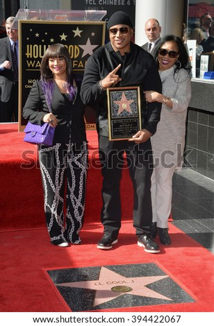 LOS ANGELES, CA - JANUARY 21, 2016: Recording star/actor LL Cool J with wife Simone Smith & mother Ondrea Smith at LL Cool J's Walk of Fame star ceremony. - stock photo