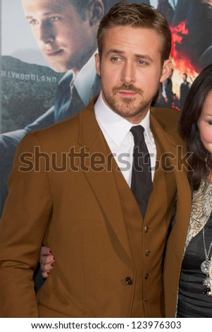 LOS ANGELES, CA - JANUARY 7: Ryan Gosling arrives at the premiere of Gangster Squad at Grauman's Chinese Theatre in Los Angeles, CA on January 7, 2013 - stock photo