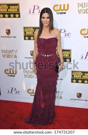 LOS ANGELES, CA - JANUARY 16, 2014: Sandra Bullock at the 19th Annual Critics' Choice Awards at The Barker Hangar, Santa Monica Airport.  - stock photo