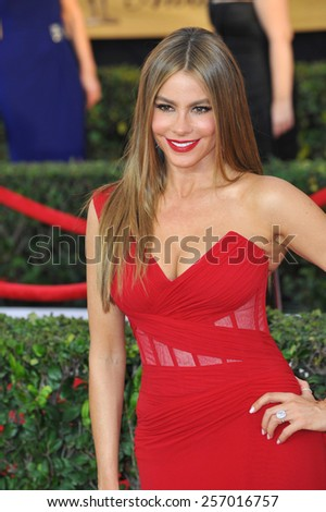 LOS ANGELES, CA - JANUARY 25, 2015: Sofia Vergara at the 2015 Screen Actors Guild  Awards at the Shrine Auditorium.  - stock photo