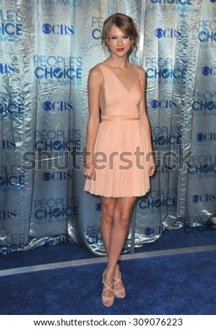 LOS ANGELES, CA - JANUARY 5, 2011: Taylor Swift at the 2011 Peoples' Choice Awards at the Nokia Theatre L.A. Live in downtown Los Angeles.  - stock photo