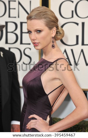 LOS ANGELES, CA - JANUARY 13, 2013: Taylor Swift at the 70th Golden Globe Awards at the Beverly Hilton Hotel. - stock photo