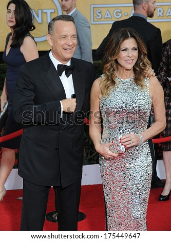 LOS ANGELES, CA - JANUARY 18, 2014: Tom Hanks & Rita Wilson at the 20th Annual Screen Actors Guild Awards at the Shrine Auditorium.  - stock photo