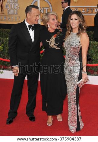 LOS ANGELES, CA - JANUARY 18, 2014: Tom Hanks, wife Rita Wilson & Emma Thompson at the 20th Annual Screen Actors Guild Awards at the Shrine Auditorium. - stock photo