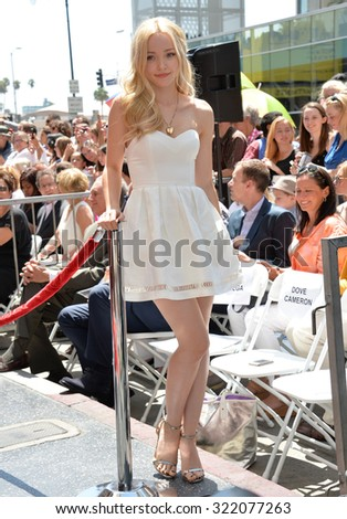 LOS ANGELES, CA - JULY 24, 2015: Actress Dove Cameron on Hollywood Blvd where Kristin Chenoweth was honored with the 2,555th star on the Hollywood Walk of Fame.