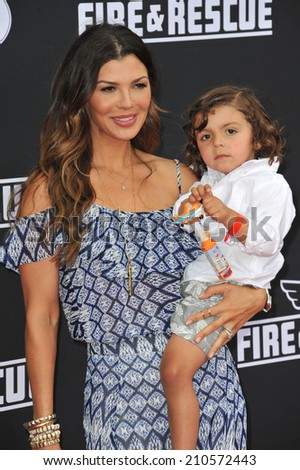 "LOS ANGELES, CA - JULY 15, 2014: Ali Landry & son Marcelo Alejandro Monteverde at the world premiere of Disney's ""Planes: Fire & Rescue"" at the El Capitan Theatre, Hollywood.  - stock photo"