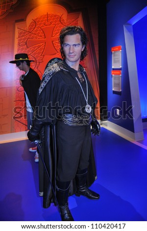 LOS ANGELES, CA - JULY 21, 2009: Antonio Banderas waxwork figure - grand opening of Madame Tussauds Hollywood. - stock photo