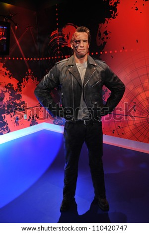 LOS ANGELES, CA - JULY 21, 2009: Arnold Schwarzenegger waxwork figure - grand opening of Madame Tussauds Hollywood. - stock photo