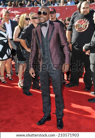 LOS ANGELES, CA - JULY 16, 2014: Boxer Floyd Mayweather Jr. at the 2014 ESPY Awards at the Nokia Theatre LA Live.  - stock photo