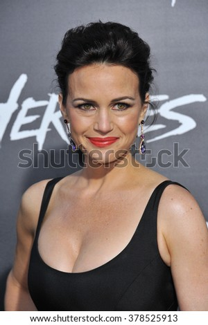 """LOS ANGELES, CA - JULY 23, 2014: Carla Gugino at the premiere of """"Hercules"""" at the TCL Chinese Theatre, Hollywood. - stock photo"""