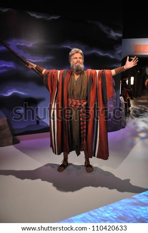 LOS ANGELES, CA - JULY 21, 2009: Charlton Heston waxwork figure - grand opening of Madame Tussauds Hollywood. - stock photo
