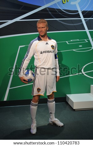 LOS ANGELES, CA - JULY 21, 2009: David Beckham waxwork figure - grand opening of Madame Tussauds Hollywood. - stock photo