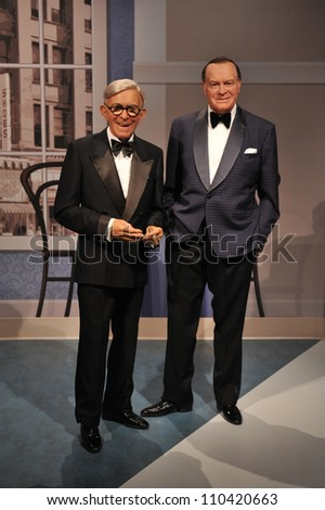 LOS ANGELES, CA - JULY 21, 2009: George Burns & Bob Hope waxwork figure - grand opening of Madame Tussauds Hollywood. - stock photo