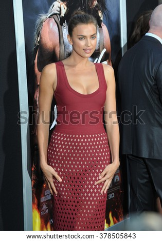 """LOS ANGELES, CA - JULY 23, 2014: Irina Shayk at the premiere of her movie  """"Hercules"""" at the TCL Chinese Theatre, Hollywood. - stock photo"""