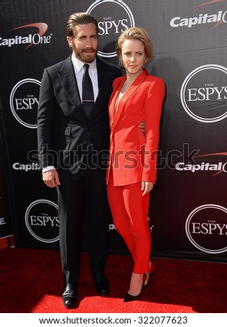 LOS ANGELES, CA - JULY 15, 2015: Jake Gyllenhaal & Rachel McAdams at the 2015 ESPY Awards at the Microsoft Theatre LA Live.