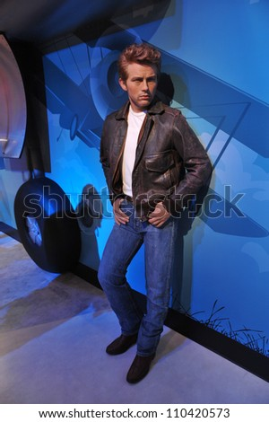 LOS ANGELES, CA - JULY 21, 2009: James Dean waxwork figure - grand opening of Madame Tussauds Hollywood. - stock photo