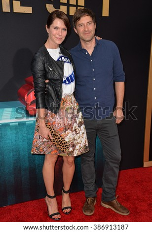 """LOS ANGELES, CA - JULY 30, 2015: Katie Aselton & husband Mark Duplass at the world premiere of her movie """"The Gift"""" at the Regal Cinemas LA Live. - stock photo"""