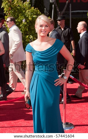 LOS ANGELES, CA - JULY 15:  Olympic Gold Medalist, skier Lindsey Vonn, on the red carpet of the 2010 ESPY Awards at the Nokia Theater at LA Live, on July 15, 2010 in Los Angeles, CA - stock photo