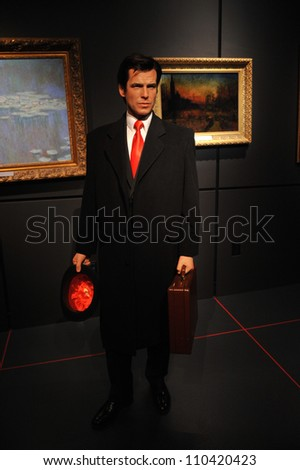 LOS ANGELES, CA - JULY 21, 2009: Pierce Brosnan waxwork figure - grand opening of Madame Tussauds Hollywood. - stock photo