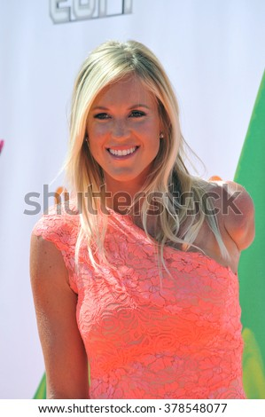 LOS ANGELES, CA - JULY 17, 2014: Surfer Bethany Hamilton at the first annual Nickelodeon Kids Choice Sports Awards at Pauley Pavilion, UCLA. - stock photo