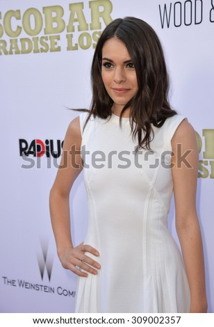 "LOS ANGELES, CA - JUNE 22, 2015: Actress Claudia Traisic at the Los Angeles premiere of her movie ""Escobar: Paradise Lost"" at the Arclight Theatre, Hollywood.   - stock photo"