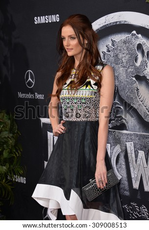 "LOS ANGELES, CA - JUNE 10, 2015: Actress Lydia Hearst, great-granddaughter of William Randolph Hearst, at the world premiere of ""Jurassic World"" at the Dolby Theatre, Hollywood.  - stock photo"