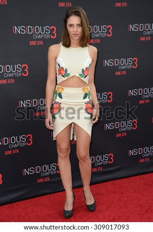 LOS ANGELES, CA - JUNE 5, 2015: Actress Sidney Allison at the world premiere of Insidious Chapter 3 at the TCL Chinese Theatre, Hollywood.  - stock photo