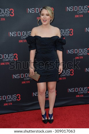 LOS ANGELES, CA - JUNE 5, 2015: Actress Taylor Spreitler at the world premiere of Insidious Chapter 3 at the TCL Chinese Theatre, Hollywood.  - stock photo