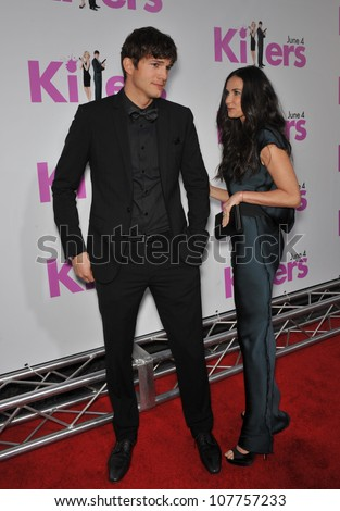 "LOS ANGELES, CA - JUNE 1, 2010: Ashton Kutcher & Demi Moore at the Los Angeles premiere of his new movie ""Killers"" at the Cinerama Dome, Hollywood. - stock photo"