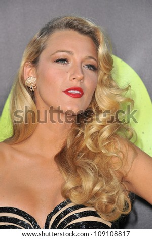 "LOS ANGELES, CA - JUNE 26, 2012: Blake Lively at the world premiere of her movie ""Savages"" at Man Village Theatre, Westwood. - stock photo"