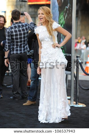 "LOS ANGELES, CA - JUNE 15, 2011: Blake Lively at the world premiere of her new movie ""Green Lantern"" at Grauman's Chinese Theatre, Hollywood. June 15, 2011  Los Angeles, CA - stock photo"