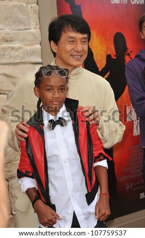 """LOS ANGELES, CA - JUNE 6, 2010: Jackie Chan & Jaden Smith at the Los Angeles premiere of their new movie """"The Karate Kid"""" at Mann Village Theatre, Westwood. - stock photo"""