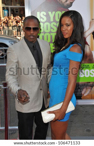 """LOS ANGELES, CA - JUNE 30, 2011: Jamie Foxx & Britt Loren at the Los Angeles premiere of his new movie """"Horrible Bosses"""" at Grauman's Chinese Theatre, Hollywood. June 30, 2011  Los Angeles, CA - stock photo"""
