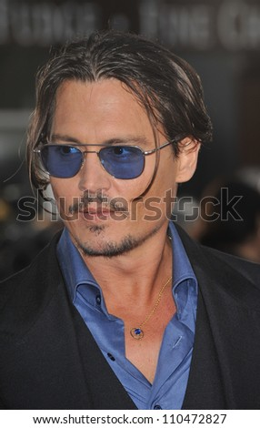 """LOS ANGELES, CA - JUNE 23, 2009: Johnny Depp at the Los Angeles premiere of his new movie """"Public Enemies"""" at Mann Village Theatre, Westwood. - stock photo"""