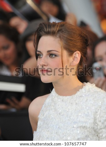"LOS ANGELES, CA - JUNE 24, 2010: Kristen Stewart at the premiere of her new movie ""The Twilight Saga: Eclipse"" at the Nokia Theatre at L.A. Live. - stock photo"