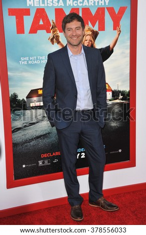 """LOS ANGELES, CA - JUNE 30, 2014: Mark Duplass at the premiere of his movie """"Tammy"""" at the TCL Chinese Theatre, Hollywood. - stock photo"""