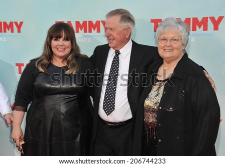 "LOS ANGELES, CA - JUNE 30, 2014: Melissa McCarthy & parents at the premiere of her movie ""Tammy"" at the TCL Chinese Theatre, Hollywood.  - stock photo"