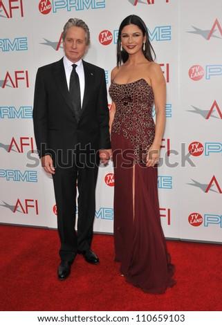 LOS ANGELES, CA - JUNE 11, 2009: Michael Douglas & wife Catherine Zeta-Jones at the 37th AFI Life Achievement Award Gala at Sony Studios, Los Angeles - stock photo