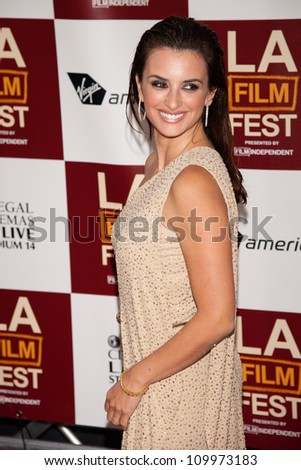 LOS ANGELES, CA - JUNE 14: Penelope Cruz arrives at the Los Angeles Film Festival premiere of 'To Rome With Love' at Regal Cinemas L.A. LIVE Stadium 14 on June 14, 2012 in Los Angeles, California. - stock photo