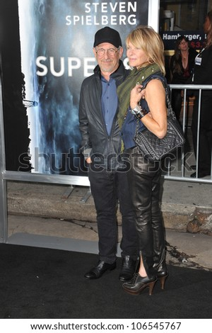 """LOS ANGELES, CA - JUNE 8, 2011: Producer Steven Spielberg & wife Kate Capshaw at the Los Angeles premiere of """"Super 8"""" at the Regency Village Theatre, Westwood. June 8, 2011  Los Angeles, CA - stock photo"""