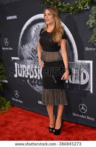 """LOS ANGELES, CA - JUNE 10, 2015: Sofia Vergara at the world premiere of """"Jurassic World"""" at the Dolby Theatre, Hollywood. - stock photo"""