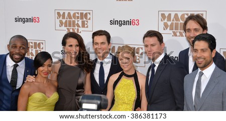 "LOS ANGELES, CA - JUNE 25, 2015: Stephen tWitch Boss, Jada Pinkett Smith, Andie MacDowell, Matt Bomer, Elizabeth Banks, Channing Tatum & Adam Rodriguez at the premiere of ""Magic Mike XXL"" in Hollywood - stock photo"