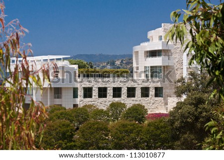 LOS ANGELES, CA - JUNE 16, 2012:  The Architecture of the Getty Center helps to attract 1.3 million visitors annually to the location in Los Angeles; June 16, 2012. - stock photo