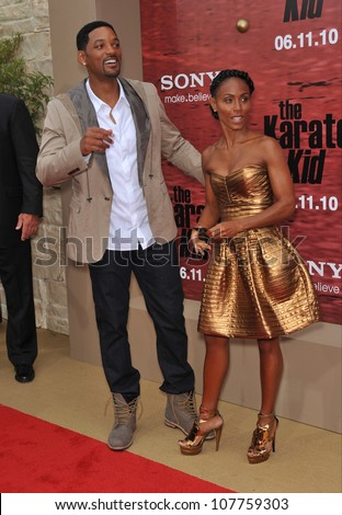"""LOS ANGELES, CA - JUNE 6, 2010: Will Smith & wife Jada Pinkett Smith at the Los Angeles premiere of their son Jaden's new movie """"The Karate Kid"""" at Mann Village Theatre, Westwood. - stock photo"""