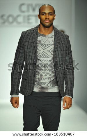 Los Angeles, CA - MARCH 11: A model walks the runway at Civil Society show during Style Fashion Week Fall 2014 at The LA Live Event Deck on March 11, 2014 in LA - stock photo
